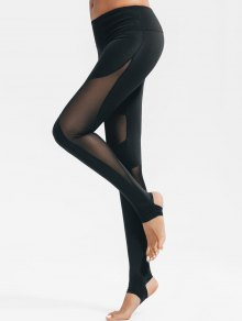 Active Mesh Insert Stirrup Leggings - Black L