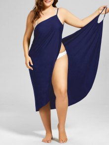 Plus Size Beach Cover-up Wrap Dress - Purplish Blue 2xl