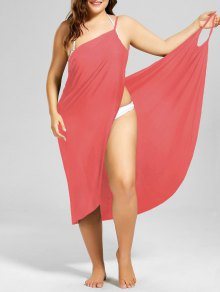 Plus Size Beach Cover-up Wrap Dress - Watermelon Red Xl