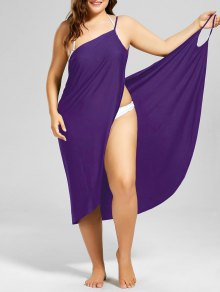Plus Size Beach Cover-up Wrap Dress - Purple 4xl