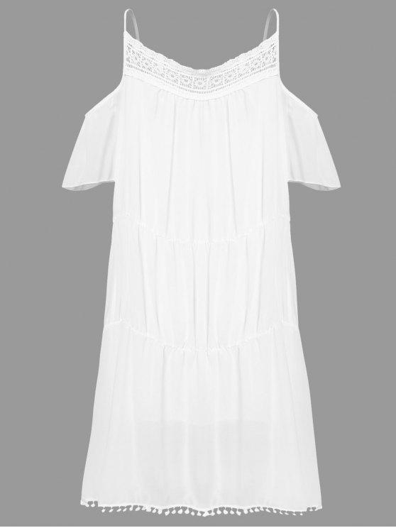 Blanco con el cordón con el vestido de hombro - Blanco L