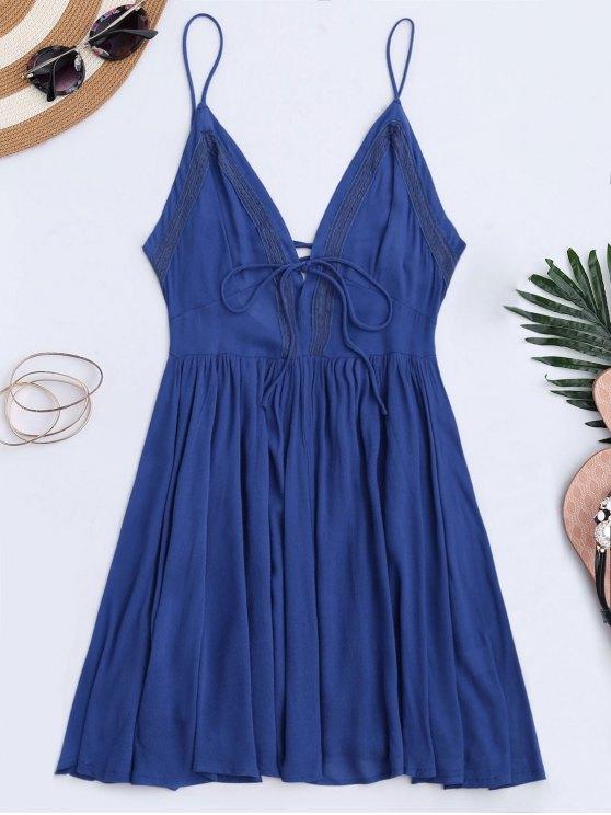 فستان الشمس غارق منخفض الظهر الرباط - أزرق S