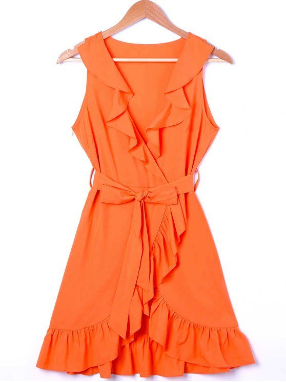 women Ruffle Trim Surplice Mini Sun Dress - ORANGE M