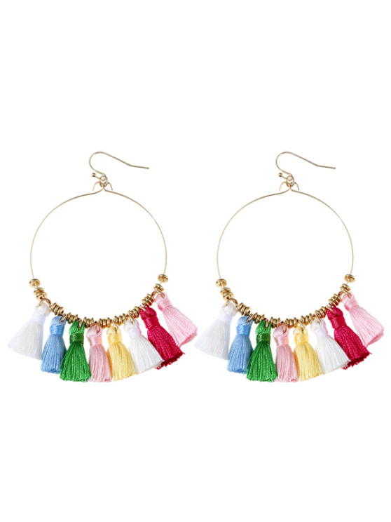 shops Tassels Cicle Hoop Drop Earrings - COLORMIX