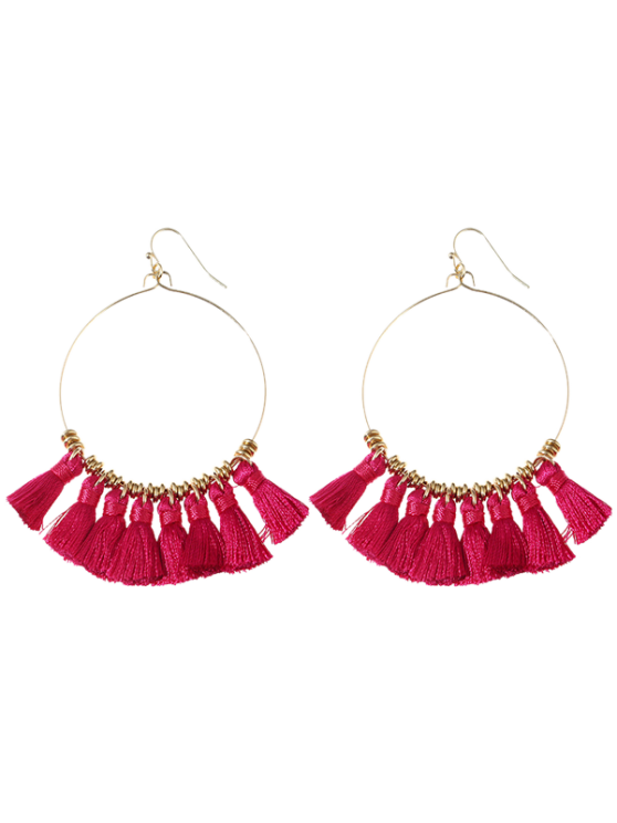 latest Tassels Cicle Hoop Drop Earrings - ROSE RED