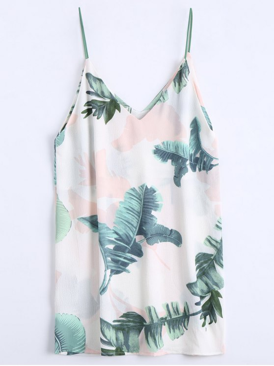 Feuillet imprimé Mini Cami Shift Dress - Blanc M