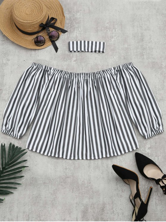 sale Puff Sleeve Striped Blouse with Chocker - STRIPE M