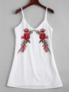 Robe Brodée Florale à Bretelles Avec Empiècements En Dentelle  - Blanc M