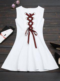 Lace Up Sleeveless Flare Dress - White M