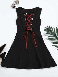 Lace Up Sleeveless Flare Dress - Black M