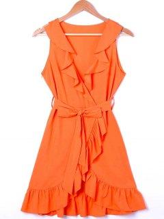 Ruffle Trim Surplice Mini Sun Dress - Orange Xl