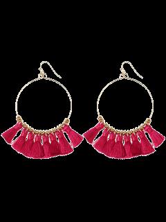 Tassels Cicle Hoop Drop Earrings - Rose Red
