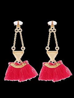Bohemian Tassel Alloy Triangle Earrings - Red