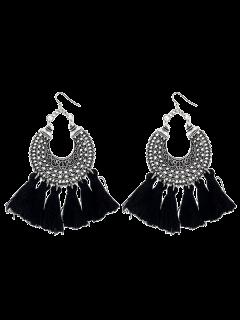 Moon Gypsy Tassel Hook Earrings - Black