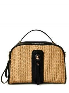 Top Handle Zips Straw Handbag - Black