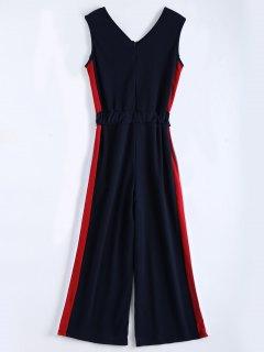 V Neck Sleeveless Contrast Jumpsuit - Purplish Blue M