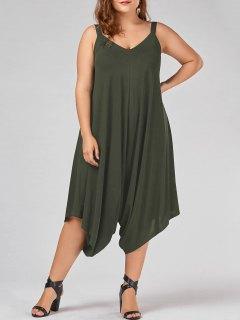 Plus Size V Neck Baggy Capri Jumpsuit - Army Green 5xl
