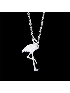 Crane Shaped Charm Pendant Necklace - Silver