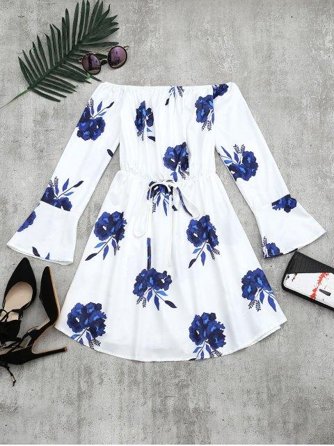 buy Floral Print Long Sleeve Dress - BLUE L Mobile