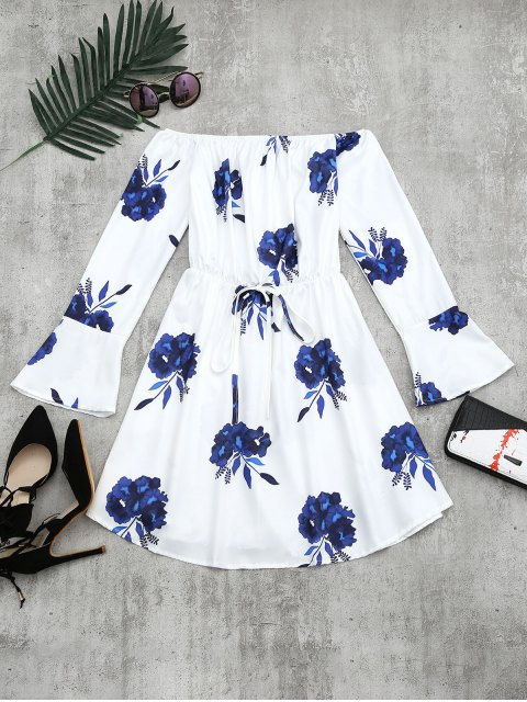 womens Floral Print Long Sleeve Dress - BLUE M Mobile