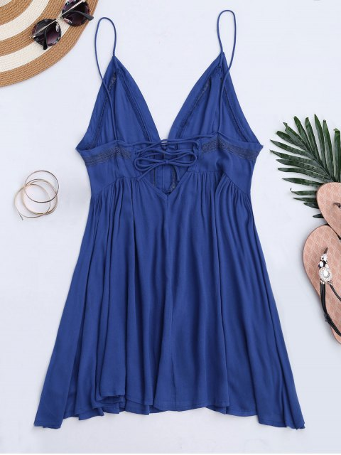 ladies Plunge Low Back Lace Up Sundress - BLUE M Mobile