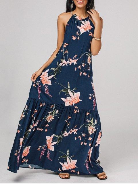 trendy Floral Flounces Maxi Dress - FLORAL S Mobile