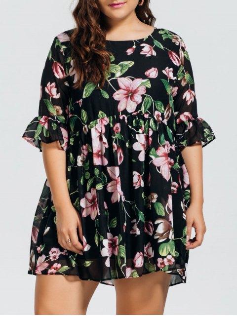 trendy Chiffon Plus Size Floral Ruffles Dress - FLORAL 2XL Mobile