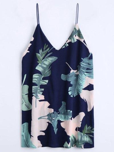 Leaves Print Mini Cami Shift Dress - Purplish Blue L