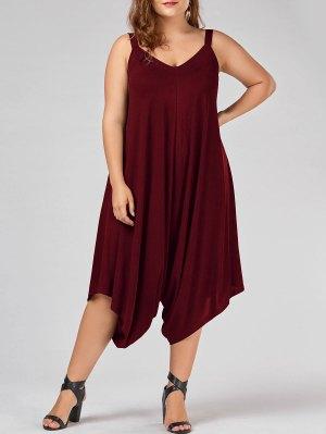Plus Size V Neck Baggy Capri Jumpsuit