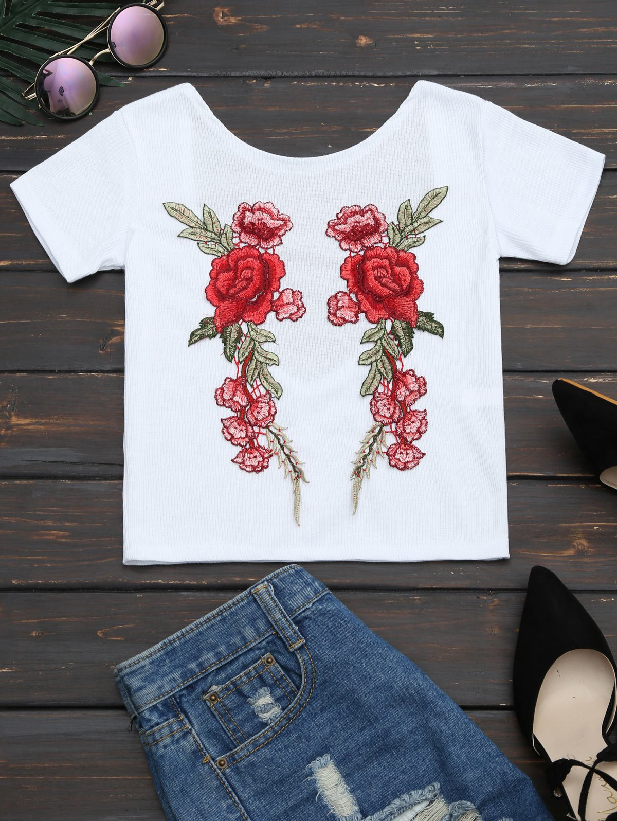 Floral Patched Ribbed Knitted Tee 216861501