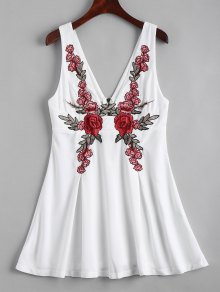 Back Zipper Floral Embroidered Mini Dress - White M