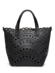 قطع حقيبة يد مع حقيبة الداخلية - أسود