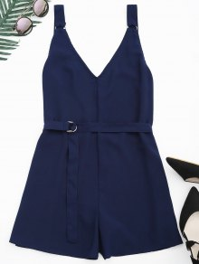 Backless Belted Chiffon Romper