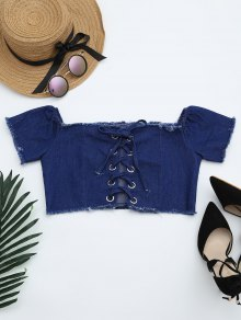 Lace Up Frayed Hem Crop Denim Blouse