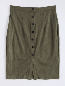 Faux Suede Button Up Pencil Skirt - Army Green M