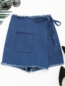 Asymmetrical Cutoffs Denim Wrap Shorts