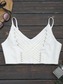Back Zipper Criss Cross Crop Top - White M