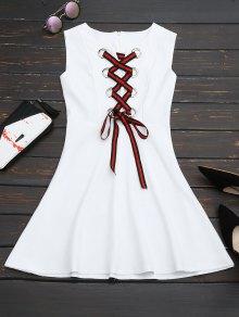 Lace Up Sleeveless Flare Dress