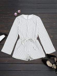 Slit Sleeve Drawstring Striped Romper