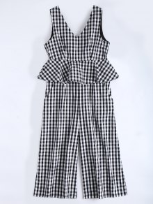 Sleeveless Flounce Checked Jumpsuit - Checked M
