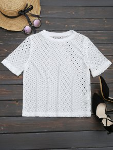 Curled Sleeve Sheer Lace Top
