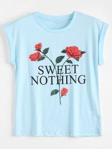 Cotton Letter Floral T-Shirt