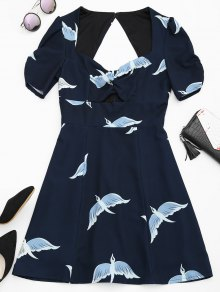 Cut Out Bird Graphic A-Line Dress - Purplish Blue Xl