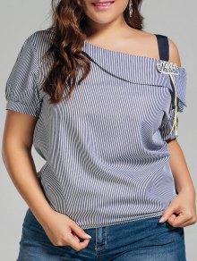 Plus Size Stripes Cold Shoulder Top