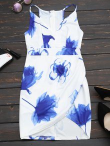 Floral Print Cut Out Cami Fitted Dress - White M
