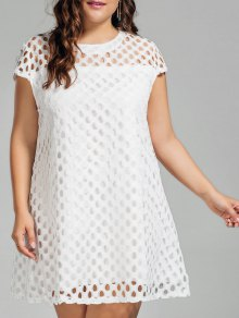 Lace Plus Size Cut Out Dress - White Xl