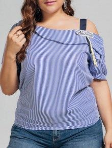 Plus Size Stripes Cold Shoulder Top - Blue 3xl