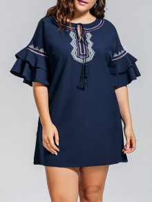 Plus Size Embroidered Ruffles Mini Dress