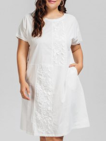 Voile Panel Plus Size Embroidered Dress