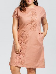 Voile Panel Plus Size Embroidered Dress - Nude Pink Xl